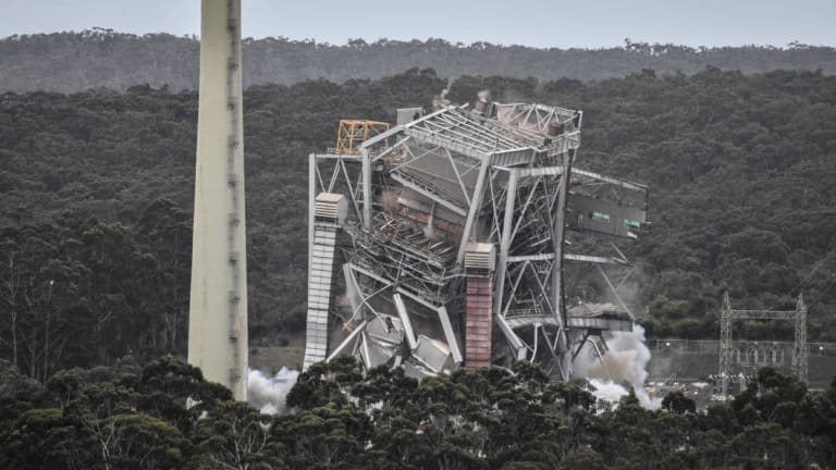 Going: Explosives are detonated at the former Alcoa Anglesea power station.