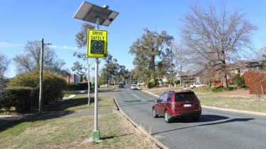 The smiley-faced speed detection sign on Stonehaven Crescent, Deakin, which has a 50km/h speed limit.