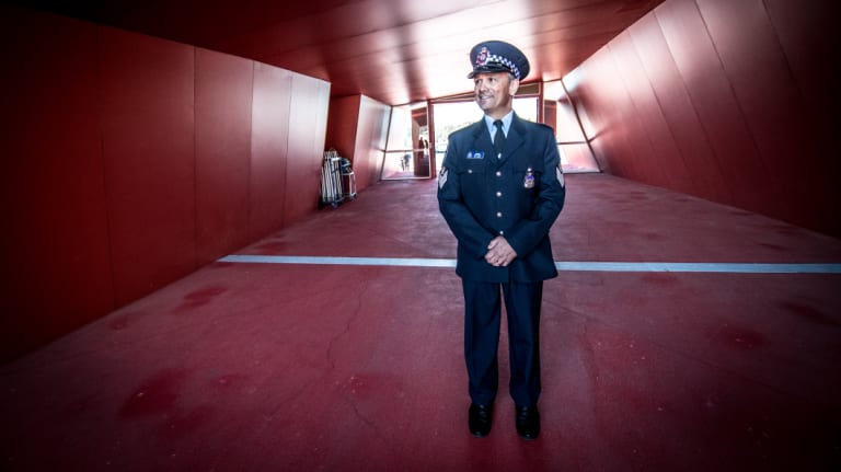 Detective Sergeant Ivan Naspe, who was recognised on Tuesday for coming to the aid of a colleague who was being mauled by a dog in Rivett on July 1.