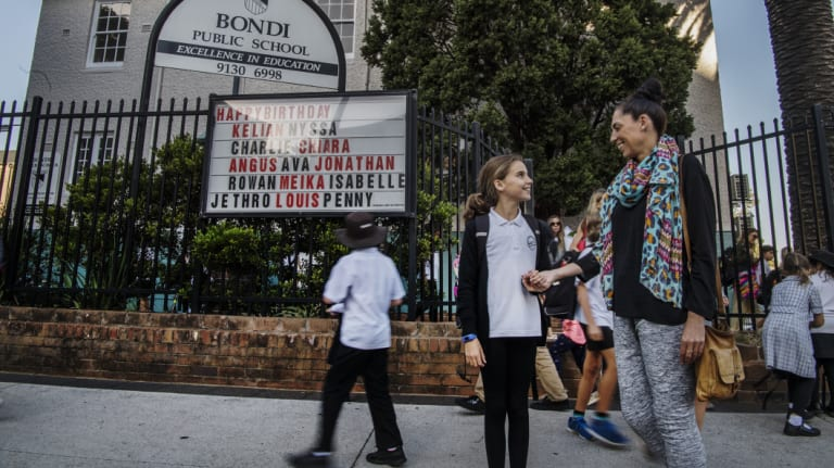 Camille Usher, whose daughter Millie Muir is in year 4 at Bondi Public School, is one of more than 5500 parents calling for a new public high school in the area.