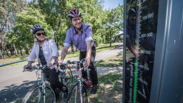 Pedal Power president Rosemary Dupont and chief executive Ian Ross check out the statistics on Canberra's first bike barometer.