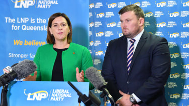 Queensland LNP Leader Deb Frecklington (left) and acting LNP acting president David Hutchinson (right) are seen during a press conference discussing the expulsion of the Member for Whitsunday, Jason Costigan.