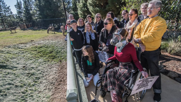 Ehlers-Danlos Syndrome patients in Canberra, who came together to raise awareness for their rare and underdiagnosed condition, and meet their mascot, the zebra at the National Zoo and aquarium.