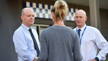 Detective Senior Sergeant Troy Andrews (left) and Detective Sergeant Phil Goodburn of the Croydon Family Violence Unit.