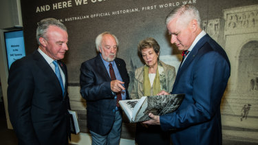 From left: Australian War Memorial director Dr Brendan Nelson, AWM historian and editor of the book Peter Burness, Charles Bean's granddaughter Anne Carroll and Deputy Prime Minister of Australia Michael McCormack.