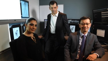 Elizabeth Abdallah with Dr Bevan Brown and Dr Eisen Liang.