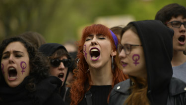Women shout slogans during a protest against sexual abuse in Pamplona, northern Spain.