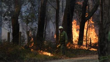 Firefighters are seen battling a bushfire inBuninyong.