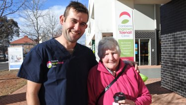 Podiatrist Luke Doyle with Robin Bontjer, of Kambah, at the open day at Brindabella Podiatry, which also celebrated the opening of the Canberra Ingrown Toenail Clinic.