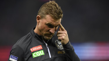 Head-scratcher: Pies coach Nathan Buckley was baffled by his side's lacklustre performance against the Bulldogs, but relieved to have claimed the four points.