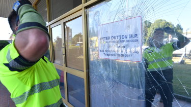 Peter Dutton's electorate office atr Strathpine was vandalised the night before the Liberal Party leadership spill.