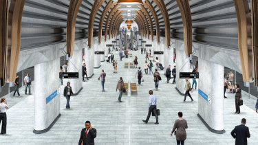 An artist's impression of the platform at the new State Library station.