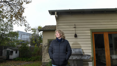 Mary Hogan's home is 60 metres from the elevated Hughesville station now under construction.