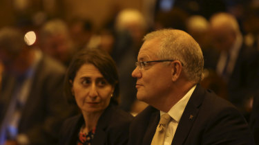 Premier Gladys Berejiklian and Prime Minister Scott Morrison at the interfaith service for Christchurch on Sunday.