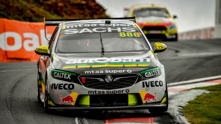 Craig Lowndes races in the Bathurst 1000 on Sunday.
