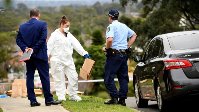 Forensic police work at the scene of the stabbing in Carlingford.