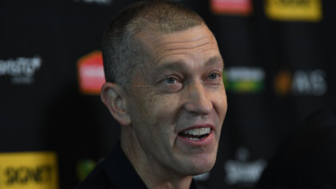 Boomers coach Andrej Lemanis at the squad announcement on Wednesday.