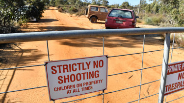 Locked gate: the land in Kaniva owned by Graham Leslie White.