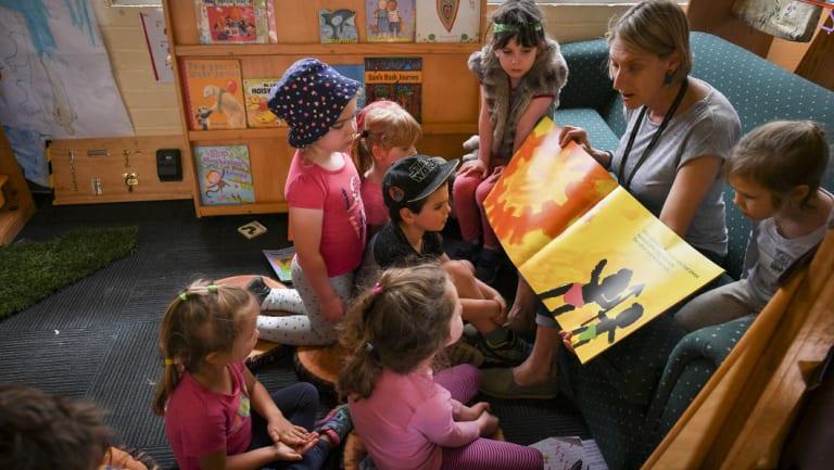 Kindergarten teacher Angela Ditchmen with children at Thornbury Kinder.