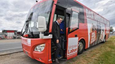 Daniel Andrews on his campaign bus earlier this week.
