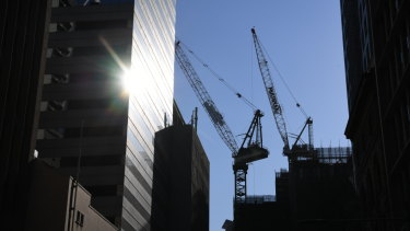 The number of cranes in North Sydney increased by 27 last month, to 121.