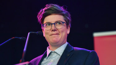 Hannah Gadsby speaking at the launch of the 33rd Melbourne International Comedy Festival.