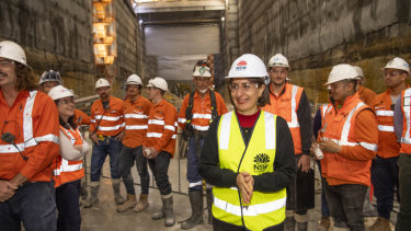 Premier Gladys Berejiklian at the site of a metro train station at Crows Nest on Thursday.