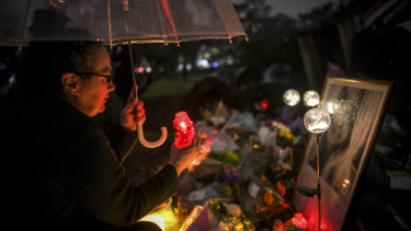 Courtney Herron's mother Maxie at the vigil for her daughter at the Royal Park on Friday evening.