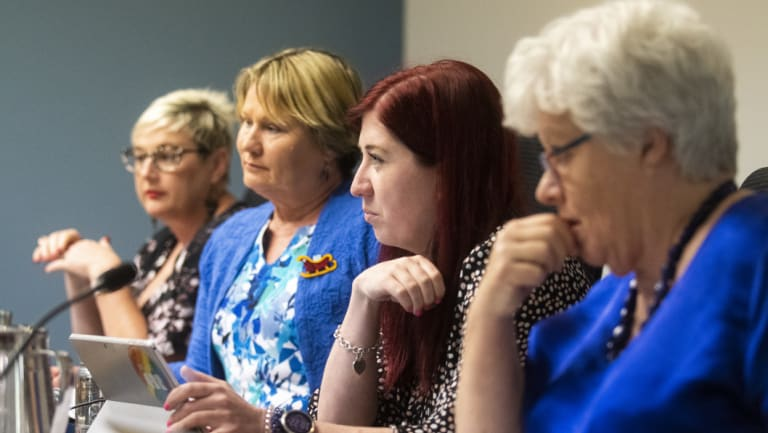 Bec Cody, Nicole Lawder, Tara Cheyne and Vicki Dunne at the hearings into government's  land swap with the Dickson Tradies.