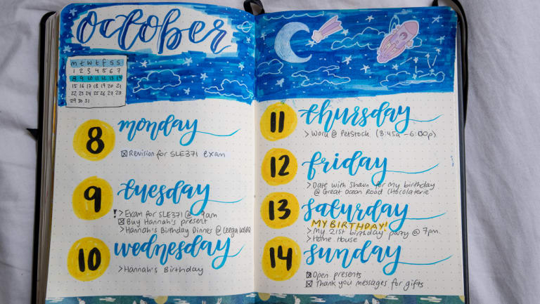 'It helps me stay organised': Zoology student Georgia Woodhead, aka himestudies, says her bullet journal is not just an art hobby.