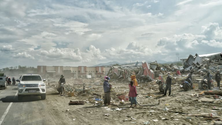 Overwhelming smell, dust and destruction at Talise beach, Palu.