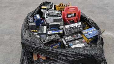 Batteries placed in recycling bins and brought to SKM's Laverton North recycling plant.