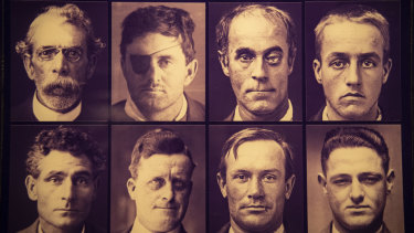 Mugshots from Long Bay jail on display at the Justice & Police Museum.