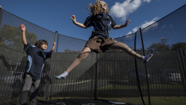 Cook School recently brought in outdoor and indoor trampolines and other playground equipment to use endorphins to help balance students' moods.