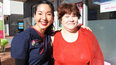 Podiatrist Lydia Kim with Irene Mawhinney, of Richardson, at the open day at Brindabella Podiatry, which also celebrated the opening of the Canberra Ingrown Toenail Clinic.