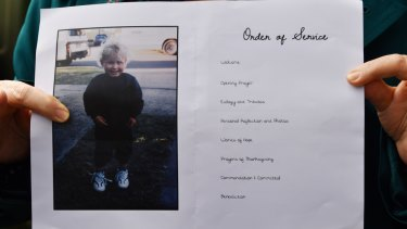 The order of service booklet for the memorial service for Lucas Fowler at Turramurra Uniting Church in Sydney on August 2.