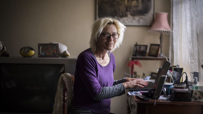 """An absolute lifeline"": Clare Hanson in her apartment at the Ascot Vale public housing estate, where she has been a tenant for for eight years."