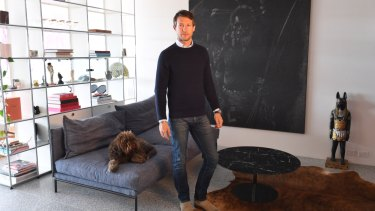 Art collector Nick Tobias at home in Bondi.