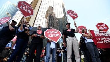 Anti Adani outside the company's offices in Brisbane last week