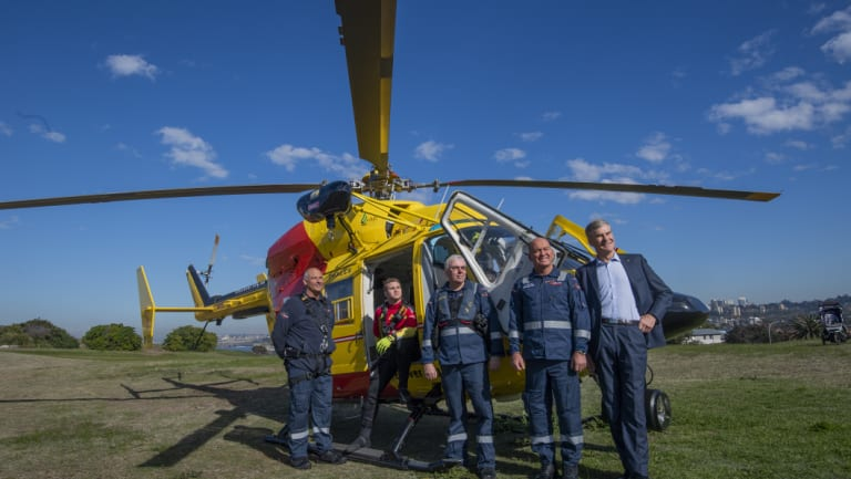 Helicopter Rescue Crew members (left to right) Trevor Cracknell, Callum Good, Peter Yates and Tony LeMarseny