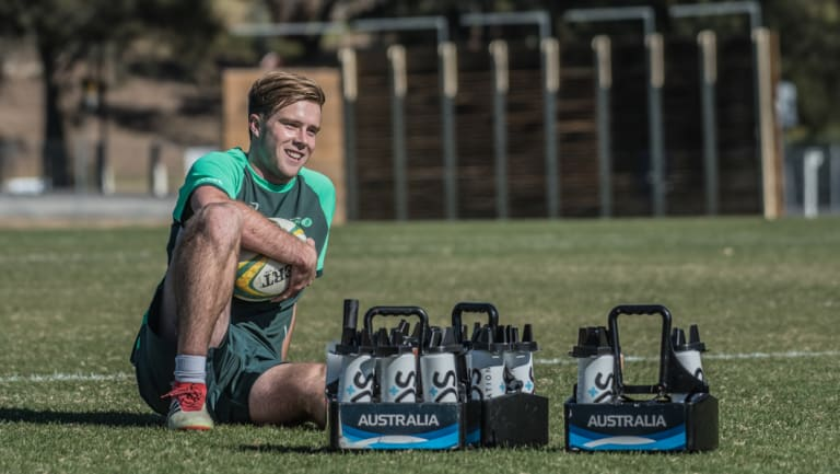 Brumbies rookie Mack Hansen in camp with the Junior Wallabies on Friday.