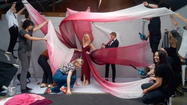 Kate Miller-Heidke and Eurovision hosts Myf Warhurst and Joel Creasey during The Guide's Eurovision cover shoot.