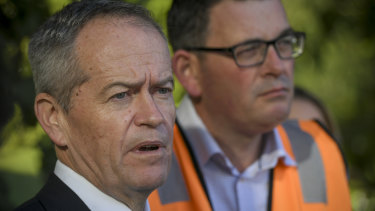 Opposition leader Bill Shorten and Premier Daniel Andrews at a Metro Tunnel construction site in Melbourne on Friday.