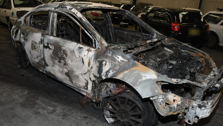 Police have released images of the burnt-out Subaru WRX.