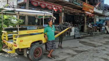 Wildan waits for tourists on Gili Trawangan with his horse and cart.