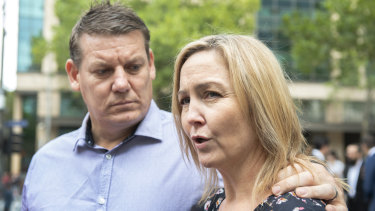 Jodie Fischer peaks to the media on Friday after psychiatrist Prabakar Rajan Thomas was jailed.