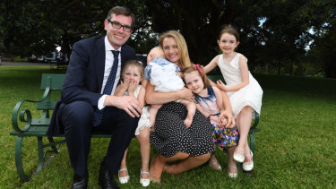 Dominic Perrottet with his wife Helen and children, left to right, Annabelle, William, Amelia and Charlotte in January 2017.