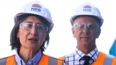 Premier Gladys Berejiklian and Transport Minister Andrew Constance mark the start of tunneling from Chatswood for the second stage of Sydney's metro rail line.