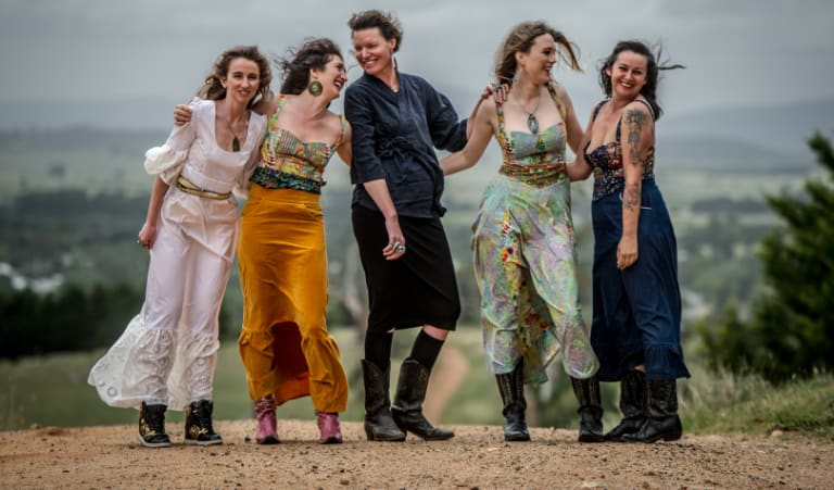 Braidwood designer Sky Mazurkiewicz (centre) makes the jewellery to go with Saloon's wild west pieces. She's pictured with (from left) AJ Gillin, Jane Magnus, Lily Munnings and Dena Pezzano-Pharaoh, all wearing the label.