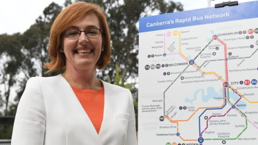 ACT Minister for Transport Meegan Fitzharris unveiling the new Rapid bus network for Canberra last April.